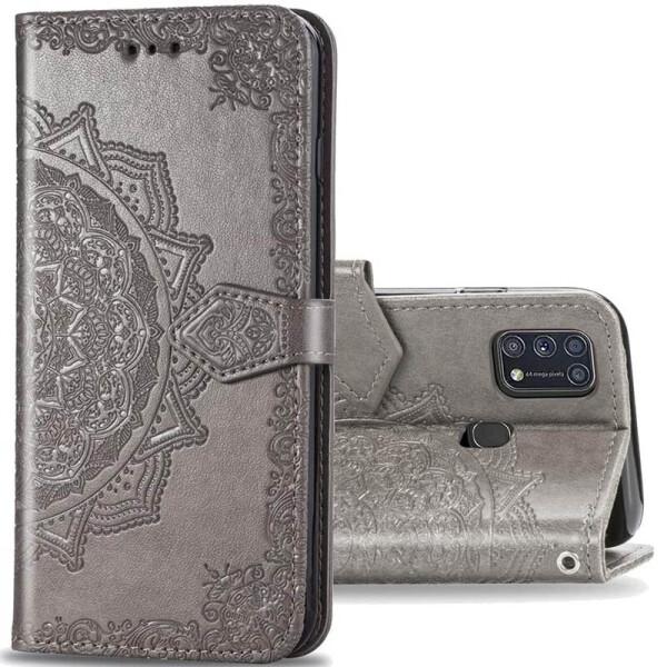 Купить Чехлы для телефонов, Кожаный чехол (книжка) Art Case с визитницей для Samsung Galaxy M31 Серый, Epik