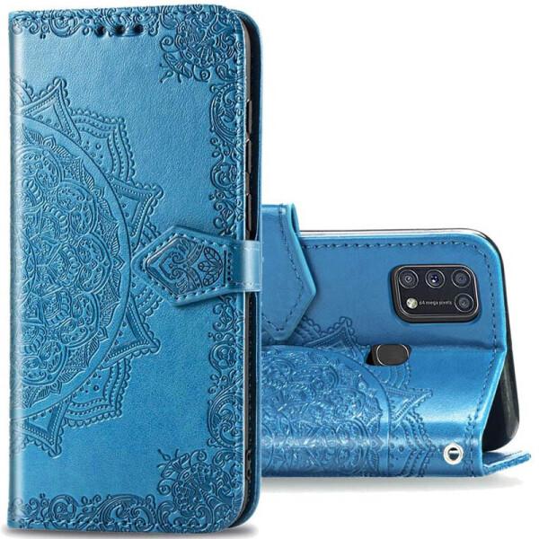 Купить Чехлы для телефонов, Кожаный чехол (книжка) Art Case с визитницей для Samsung Galaxy M31 Синий, Epik