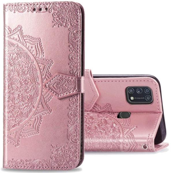 Купить Чехлы для телефонов, Кожаный чехол (книжка) Art Case с визитницей для Samsung Galaxy M31 Розовый, Epik