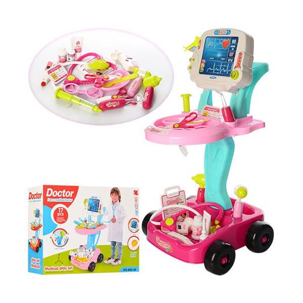 Купить Игровые наборы, Игровой набор Limo Toy Набор доктора Тележка со звуковыми эффектами Розовый (660-45-46)