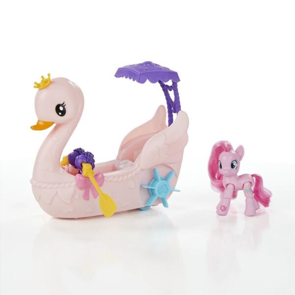 Купить Игровые наборы, Детский Игровой набор для Девочек My Little Pony - Пинки Пай на лодке в виде розового лебедя с веслами и зонтом, Hasbro