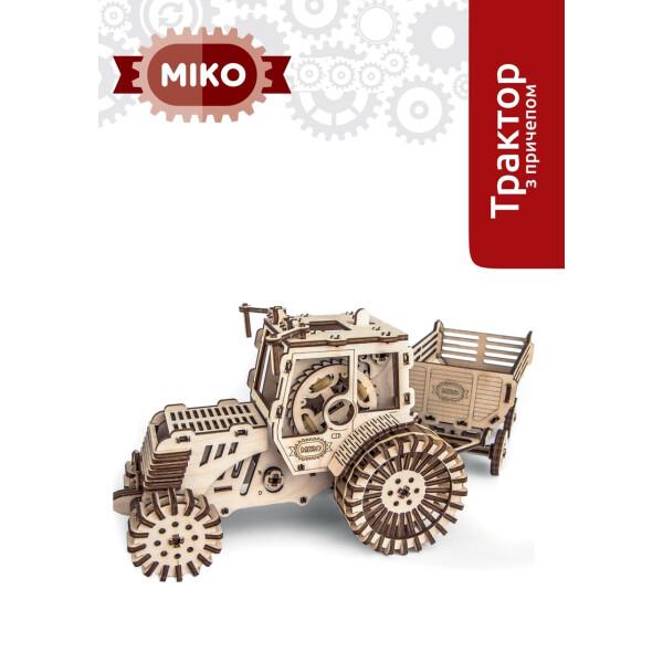 NN / Деревянная подвижная 3D модель МІКО Трактор с прицепом (М10012)