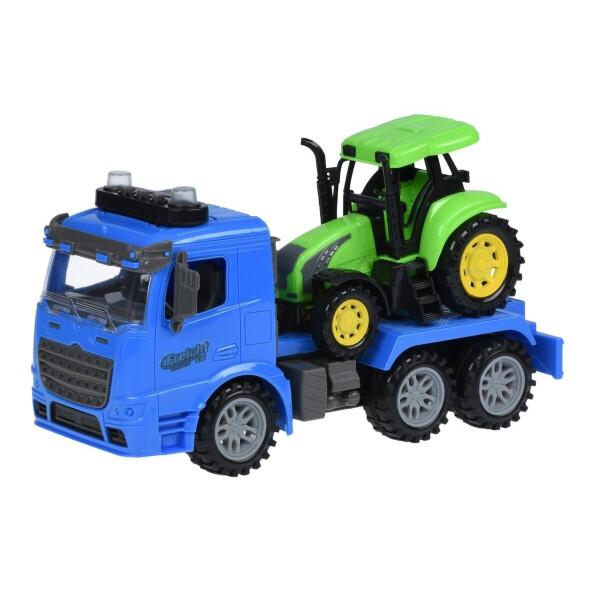 Купить Машинки, техника игровая, Машинка инерционная Same Toy Truck Тягач синий с трактором со светом и звуком (98-613AUt-2)