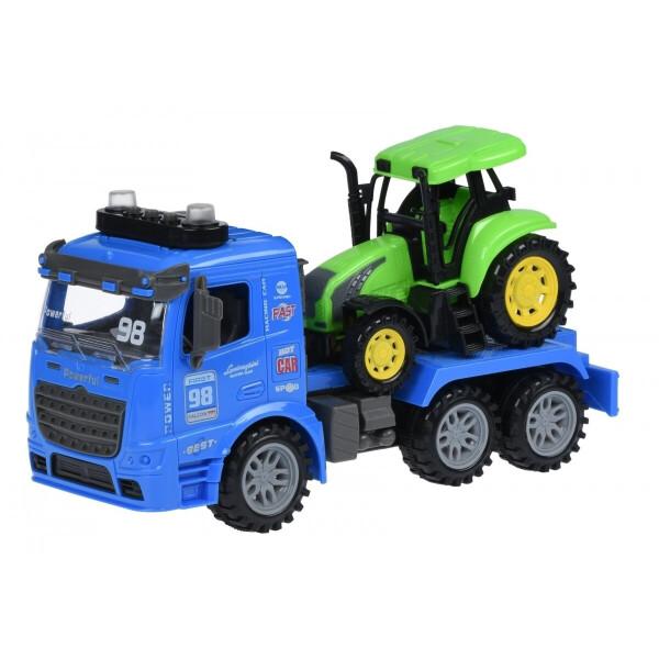 Купить Машинки, техника игровая, Машинка инерционная Same Toy Truck Тягач синий с трактором со светом и звуком (98-615AUt-2)