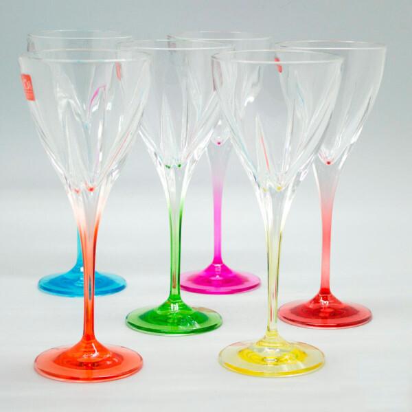 Купить Бокалы и фужеры, Набор Fusion Colours 6 цветных бокалов для вина Suggest SS32261
