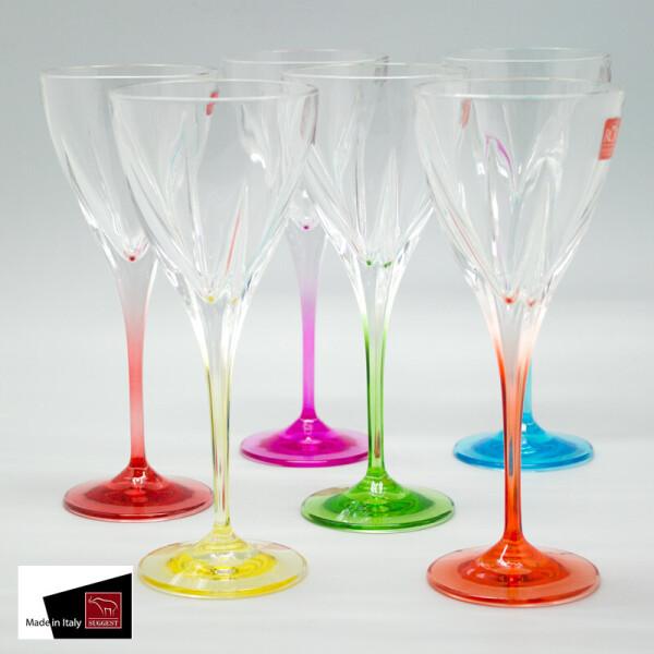 Купить Бокалы и фужеры, Fusion Color 6 цветных бокалов для вина Suggest SS33098