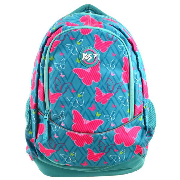 Купить Рюкзаки, Молодежный рюкзак с ортопедической спинкой для девушек YES Т-40 Butterfly mix 46х15, 5х 24л Синий (556775)