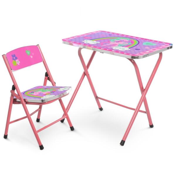 Купить Детские письменные столы, парты, Столик со стульчиком складной Bambi A19-unicorn Crimson (A19-unicorn)