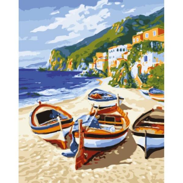 Купить Наборы для творчества и рукоделия, Набор для творчества Идейка Картина по номерам. Морской пейзаж Тихая гавань KHO2721