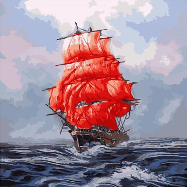 Купить Наборы для творчества и рукоделия, Набор для творчества Идейка Картина по номерам. Морской пейзаж Алые паруса KHO2709