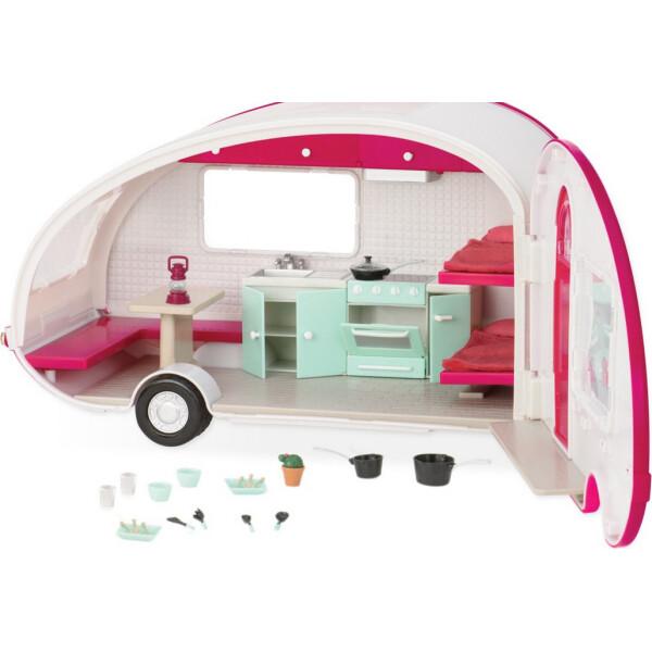 Купить Куклы, наборы для кукол, Кемпер на колесах розовый со светом, транспорт для кукол, Lori (LO37011Z)