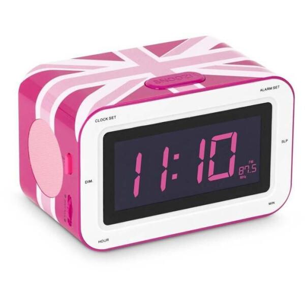 """Bigben Interactive / Радиоприемник с будильником """"Британский флаг"""", розовый"""