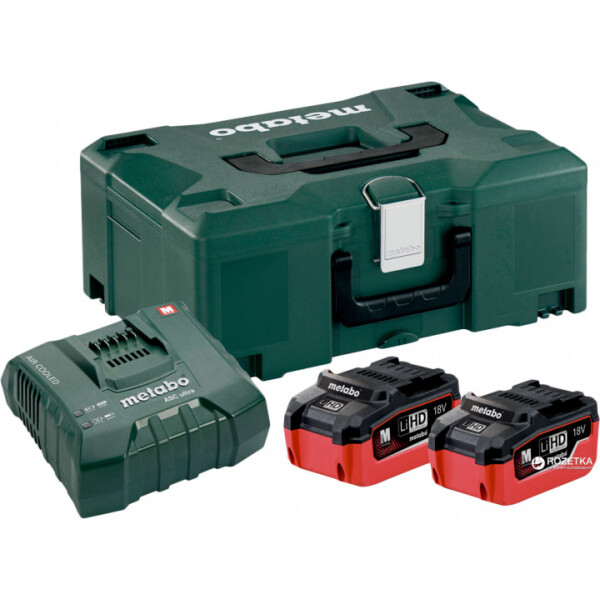 Купить Аккумуляторы для инструмента, Комплект аккумуляторных батарей Metabo 2*5.5 Ач 18 В LiHD + MetaLoc (685077000)