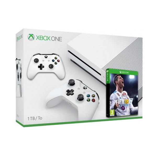 Купить Игровые консоли, Microsoft Xbox One S 1Tb White + FIFA 18 + Джойстик