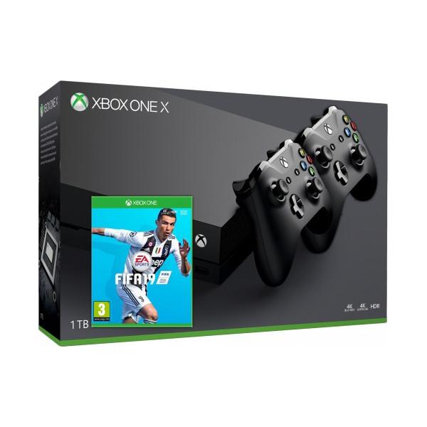 Купить Игровые консоли, Microsoft Xbox One X 1Tb + FIFA 19 (русская версия) + Джойстик