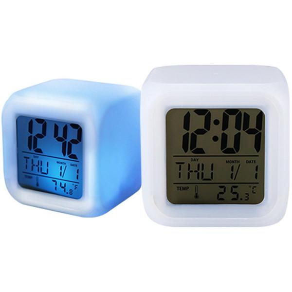 Акция на Часы настольные Ночник с подсветкой Glowing LED (меняющий цвета) с термометром CO-1167 от Allo UA