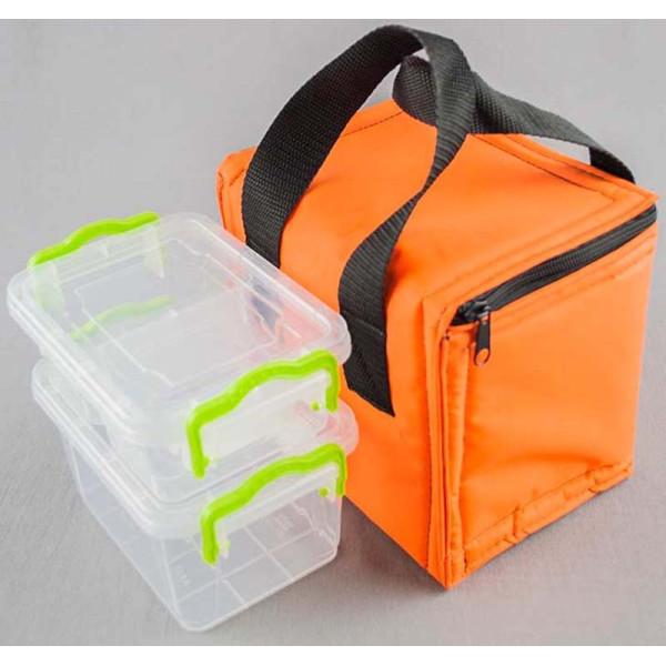 Термосумка PRO Light House оранжевая + контейнеры для еды 0,8л и 0,5л