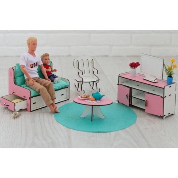 Мебель для кукольного домика Barbie NestWood Гостиная розовая (kmb002)