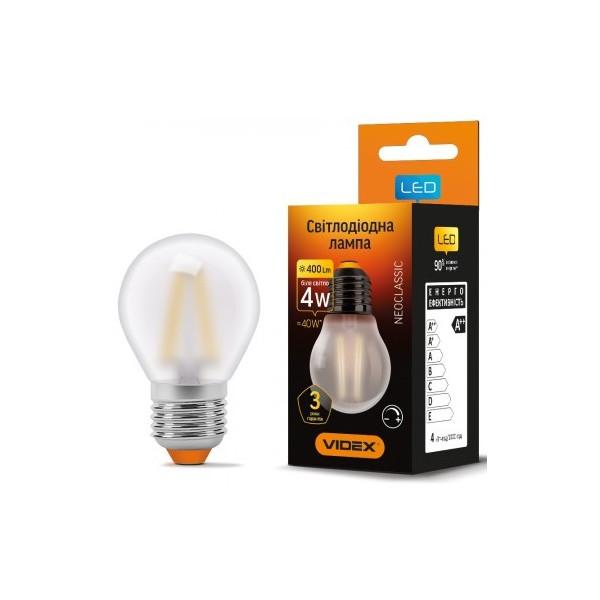 Купить Лампочки, Лампа филаментая VIDEX G45FMD 4W E27 4100K 220V диммерная (VL-G45FMD-04274)