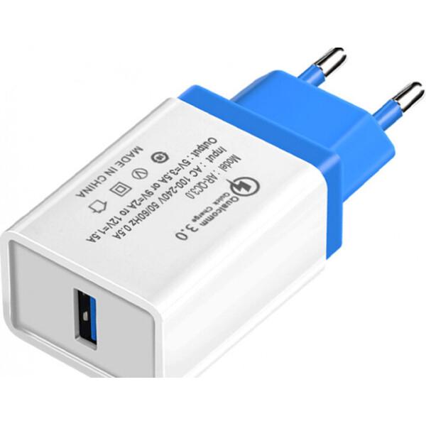 Купить Зарядные устройства для телефонов и планшетов, Сетевое зарядное устройство Hoco QC-100 1 USB, 3.5A Blue