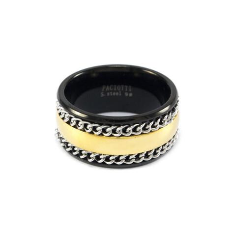 Кільце зі сталі із золотистою смугою і ланцюжками Арт. RNM017SL (21) купити в ⁕ ALLO.UA ⁕ ціна, відгуки